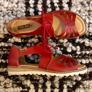 Red Leather Pikolinos Alcudia sandal size 38
